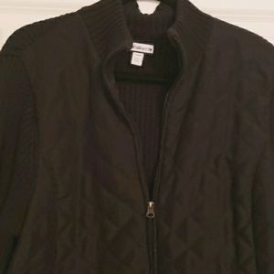 Quilted zip up black sweater